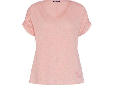 CHIEMSEE T-Shirt überschnittene Schultern aus Leinen Orange