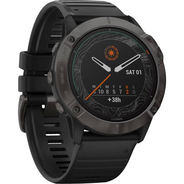 "GARMIN GPS-Multifunktionsuhr ""Fenix 6X Pro Solar""  Schwarz/Schiefergrau DLC, Titan-Lünette"