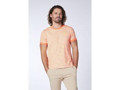 CHIEMSEE T-Shirt in gestreifter Optik mit kleinem Brustprint Braun