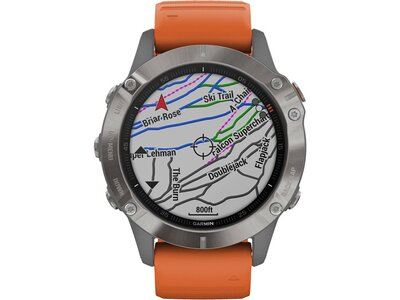 "GARMIN GPS-Multifunktionsuhr ""Fenix 6 Sapphire"" Grau/Silber Titan Lünette Grau"