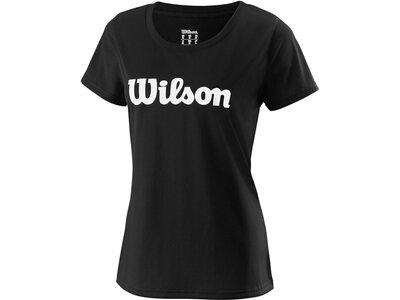 WILSON Damen Tennisshirt UWII Script Tech Tee Kurzarm Schwarz