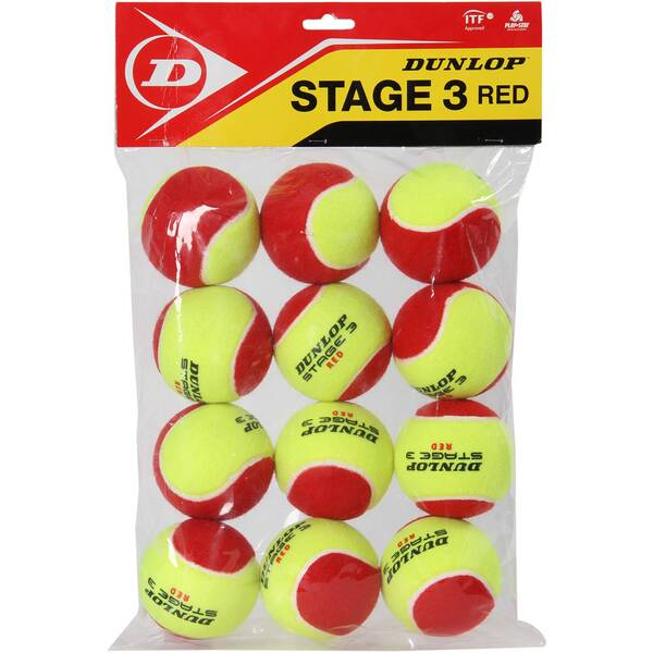 """DUNLOP Tennisbälle """"Stage 3 Red"""" 12er Set"""