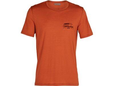 """ICEBREAKER Herren Outdoor-Shirt """"Merino Tech Lite S/S Crewe Caravan Life"""" Kurzarm Rot"""