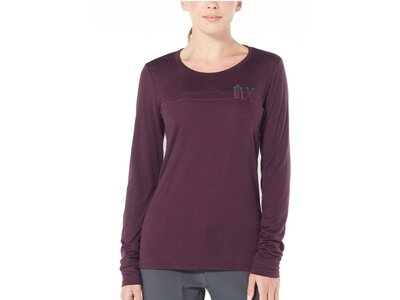 "ICEBREAKER Damen Shirt ""Tech Lite Long Sleeve Low Crewe Skis in Snow"" Langarm Lila"