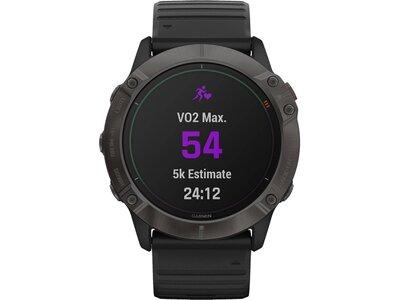 """GARMIN GPS-Multifunktionsuhr """"Fenix 6X Pro Solar"""" Schwarz/Schiefergrau DLC, Titan-Lünette Schwarz"""