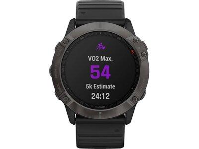 """GARMIN GPS-Multifunktionsuhr """"Fenix 6X Sapphire"""" Schwarz/Schiefergrau DLC Schwarz"""
