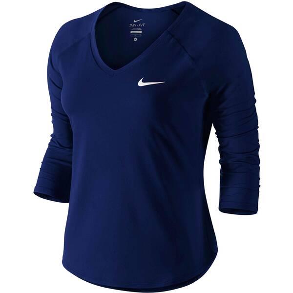 NIKE Damen Tennisshirt Pure 3/4-Arm | Sportbekleidung > Sportshirts > Tennisshirts | Blue - White | Nike