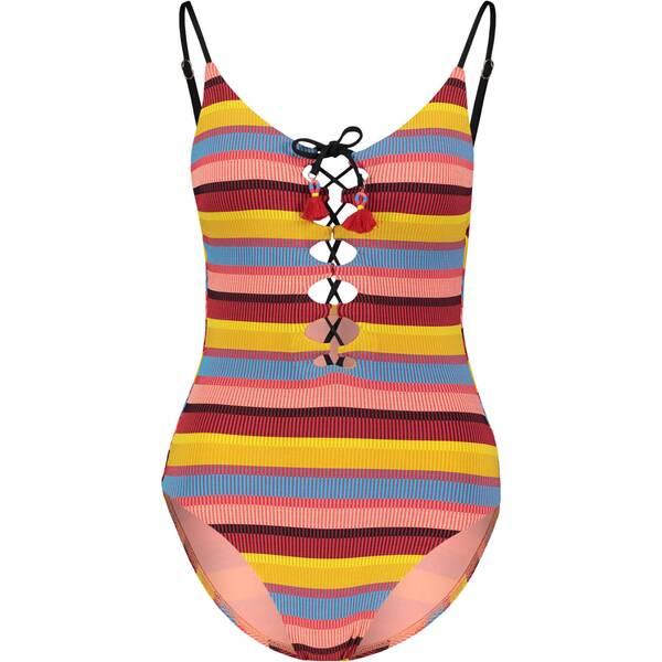 Bademode - SEAFOLLY Damen Badeanzug Baja Stripe V Neck Maillot › Gelb  - Onlineshop Intersport