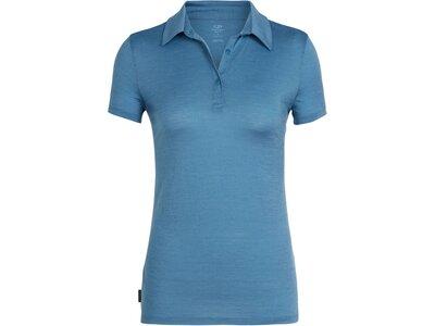 """ICEBREAKER Merino Damen Poloshirt """"Tech Lite"""" Kurzarm Blau"""