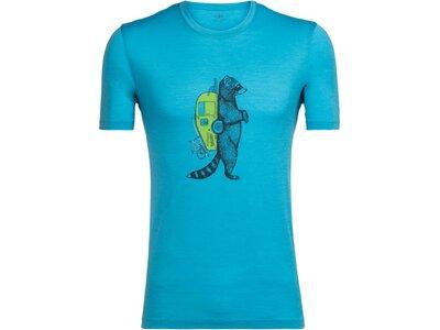 ICEBREAKER Merino Herren Shirt Tech Lite SS Crewe Waschbar Wandering Kurzarm Blau