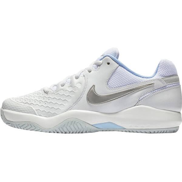 NIKE Damen Tennisschuhe Hartplatz NikeCourt Air Zoom Resistance | Schuhe > Sportschuhe > Tennisschuhe | White - Metallic - Silver | Leder - Gummi | Nike