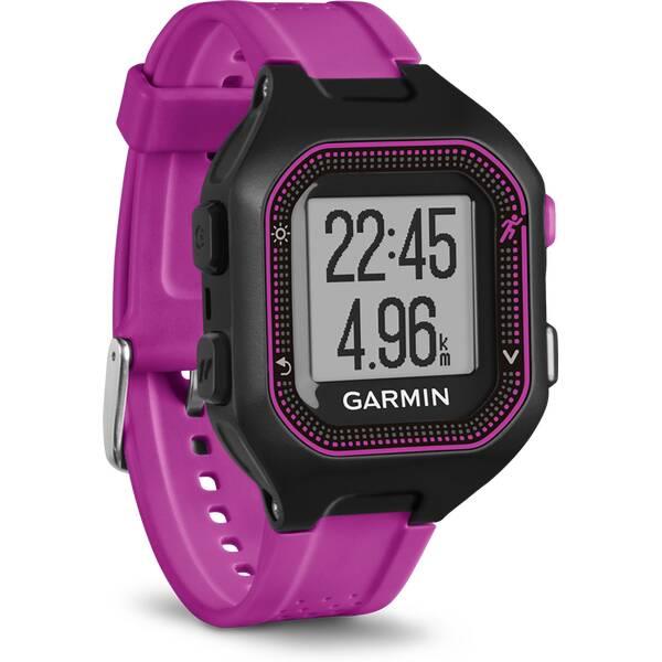 GARMIN GPS Laufuhr Forerunner® 25, Europe, Black/Purple Bundle With Heart Rate Monitor