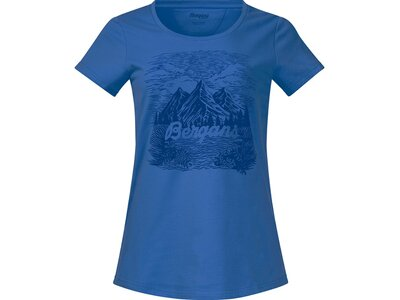BERGANS Damen Mountain View Tee Blau