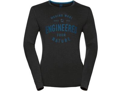 ODLO Herren Funktionsunterhemd / Funktionsshirt Shirt l/s Crew Neck 100% Natural Langarm Schwarz