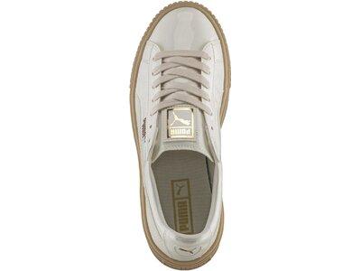 PUMA Damen Sneakers Basket Platform Patent Weiß
