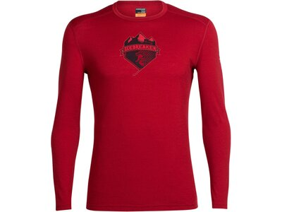 ICEBREAKER Merino Herren Funktionsshirt Oasis Crewe Ski Crest Rot