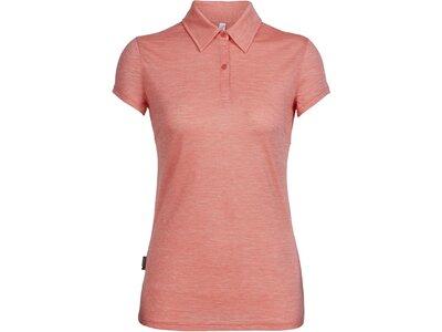 ICEBREAKER Merino Damen Funktionsshirt Women's Cool-Lite Sphere Short Sleeve Polo Rot